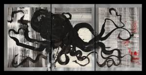 octopus, 2012_collage/ink on paper_100x205
