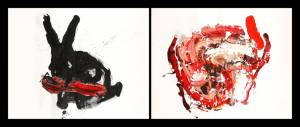 dissection of a rabbit, 2013_acrylic/indian ink on paper_160x100_(2 pieces)