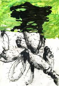 cactus I, 2015_charcoal/acrylic on paper_50x70