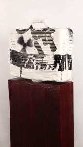 """""""più nessuno mi porterà nel sud"""", 2013-2014_plaster/ink/wood"""